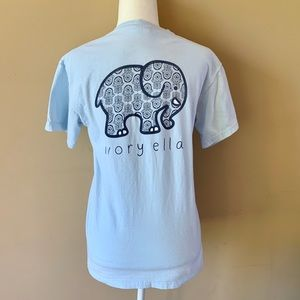 Ivory Ella Small Blue Elephant Shirt Top Tee